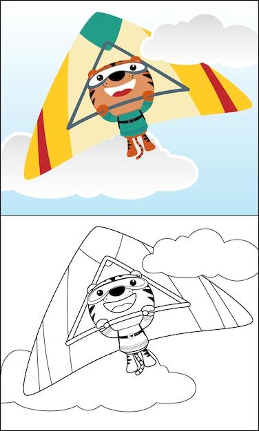 Cartone animato carino tigre equitazione deltaplano Vettore Premium