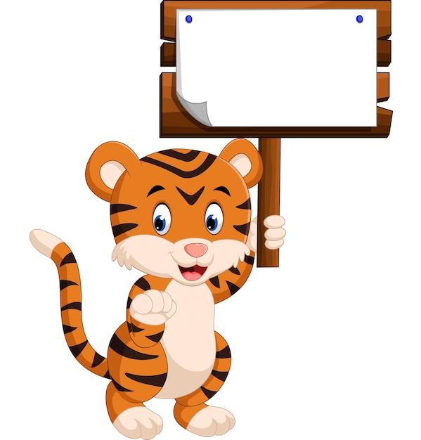 Cartone animato carino tigre Vettore Premium