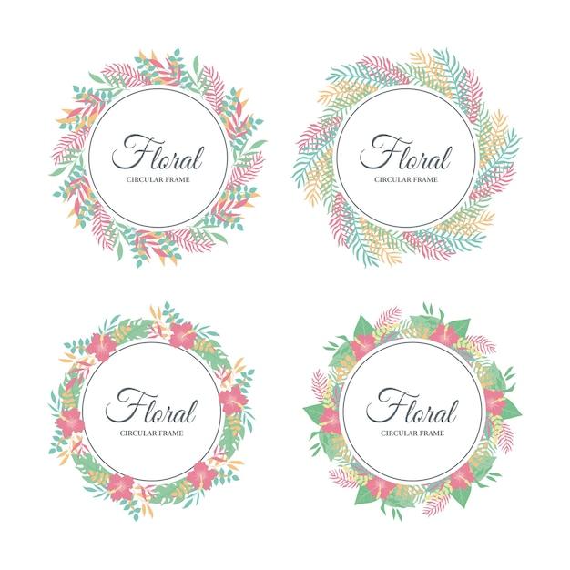 Carino cornice floreale tropicale, foglie tropicali esotiche e bordo floreale Vettore Premium