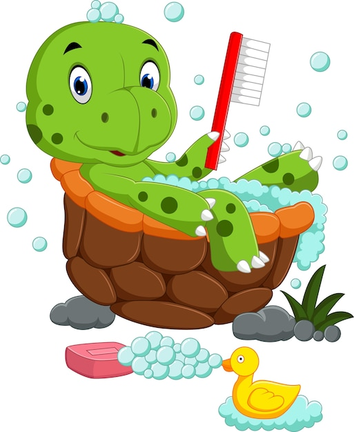 Tartaruga carina che bagna Vettore Premium