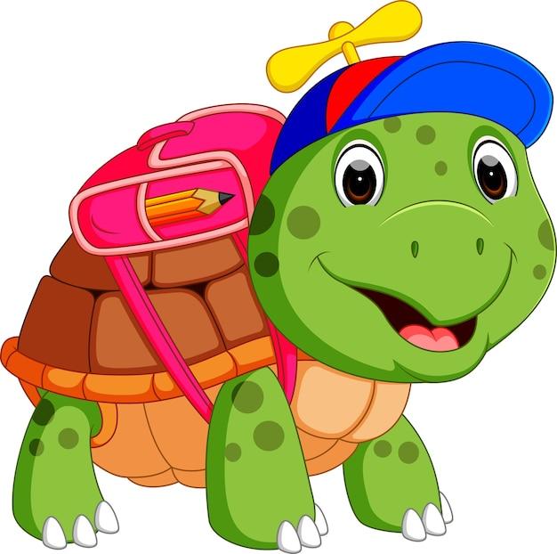 Tartaruga carina andare a scuola Vettore Premium