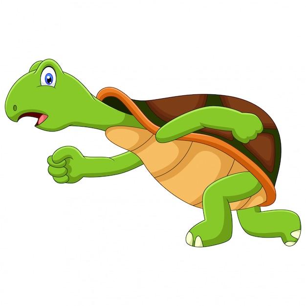 Carino un'illustrazione in esecuzione tartaruga Vettore Premium