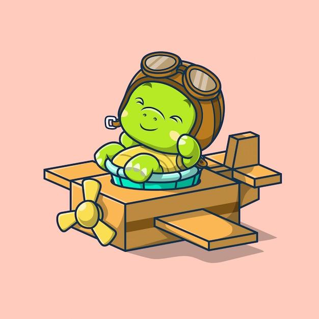 Tartaruga sveglia che rimane nell'illustrazione dell'aereo di cartone Vettore Premium