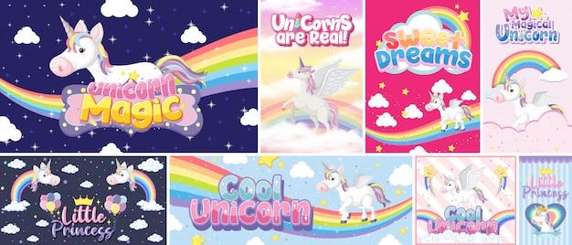Banner di unicorno carino sul colore di sfondo pastello Vettore Premium