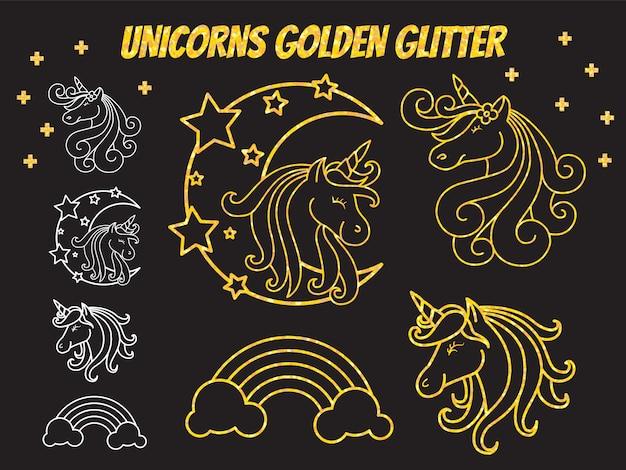 Progettazione sveglia dell'illustrazione del personaggio dei cartoni animati dell'unicorno Vettore Premium