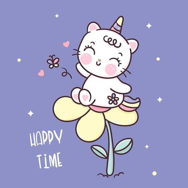 Simpatico cartone animato gatto unicorno con animale kawaii fiore Vettore Premium