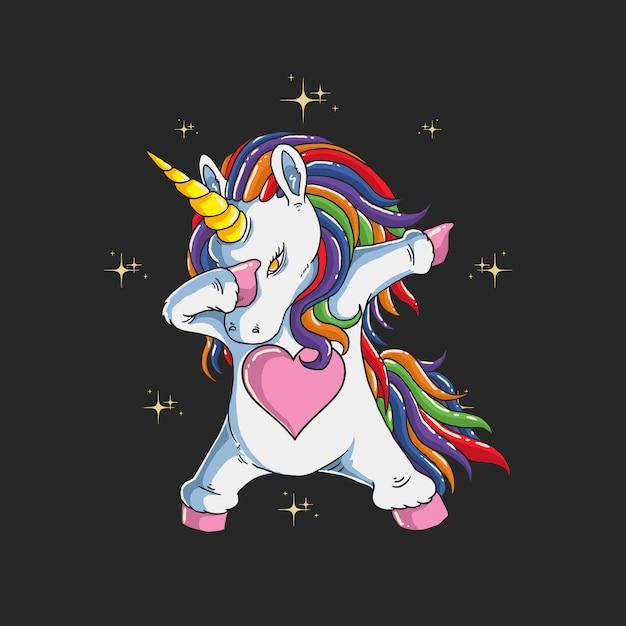 Carino unicorno tamponando illustrazione grafica Vettore Premium