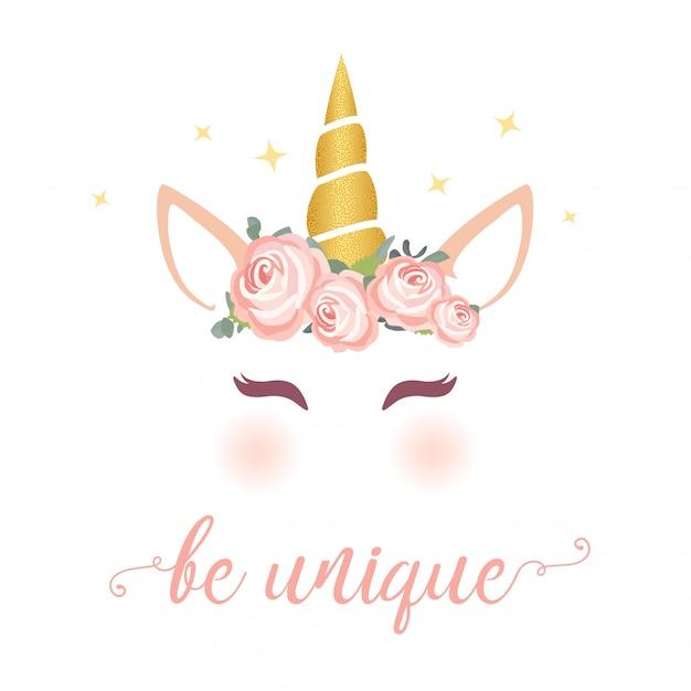 Grafica di unicorno carino con ghirlanda di fiori Vettore Premium