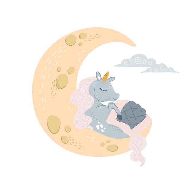 Simpatico pisolino unicorno alla luna sotto la coperta con gli occhi chiusi. Vettore Premium