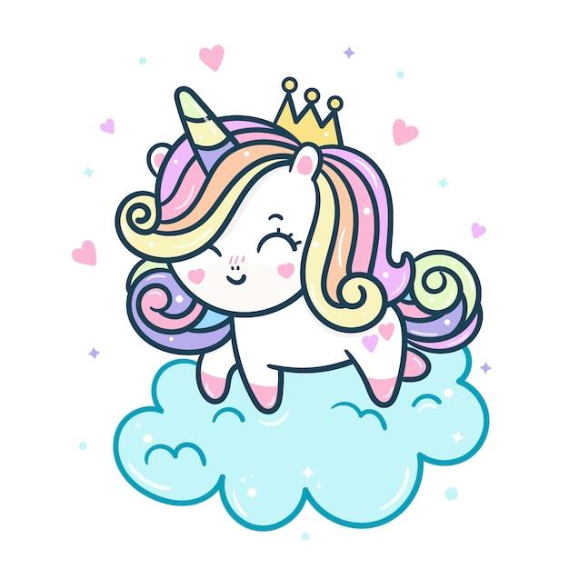Principessa unicorno carino su nuvola Vettore Premium