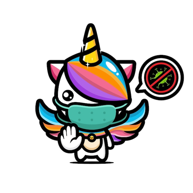 Simpatico unicorno che indossa una maschera con posa del virus di arresto Vettore Premium