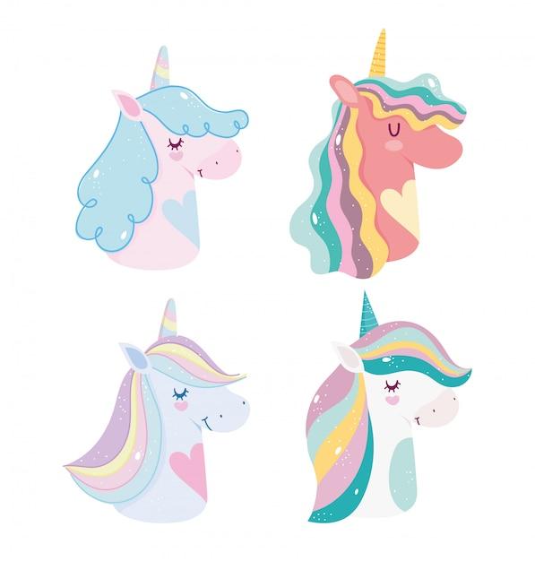 Unicorni carino fantasia magica fumetto arcobaleno corna icone ritratto criniera Vettore Premium