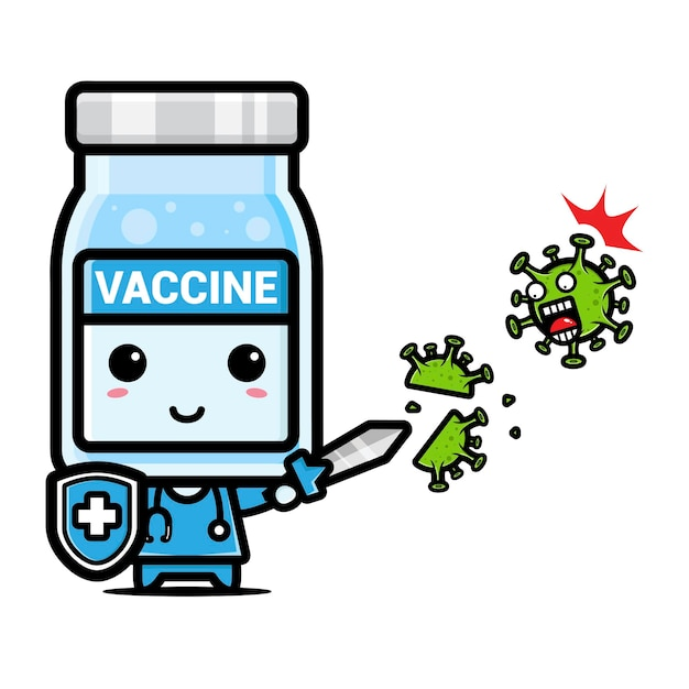 Simpatica mascotte vaccino contro il virus | Vettore Premium