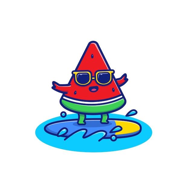 Illustrazione sveglia dell'icona di surf dell'anguria. concetto dell'icona di frutta estiva. Vettore Premium