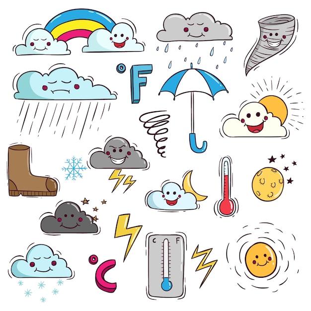 Elementi meteo carino in stile doodle Vettore Premium