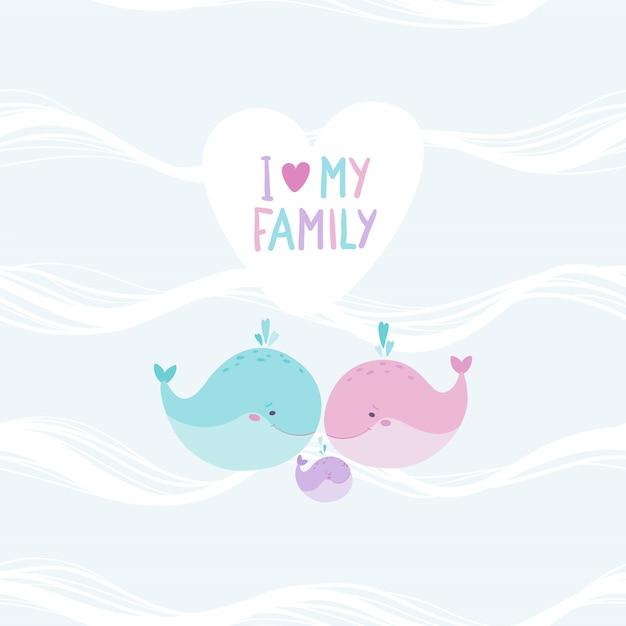 Famiglia di balene carino su sfondo modello oceano senza soluzione di continuità. mamma, papà e bambino. illustrazione disegnata a mano infantile nello stile semplice del fumetto nei colori pastelli. lettering: adoro la mia famiglia Vettore Premium