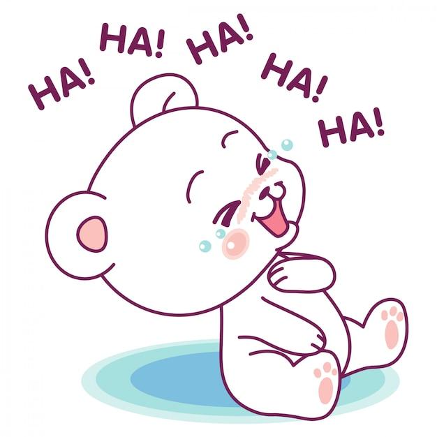 Simpatico orso bianco che ride ad alta voce Vettore Premium