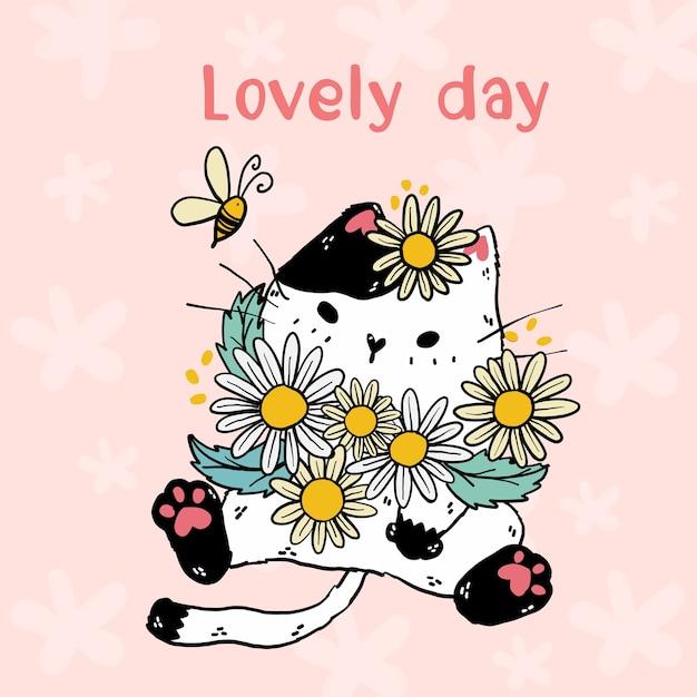 Simpatico gatto bianco con fiori margherita e un'ape, scritta bella giornata, idea per adesivo, biglietto di auguri, sublimazione, bambino, arte della parete, stampabile Vettore Premium