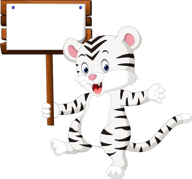 Simpatico cartone animato di tigre bianca Vettore Premium