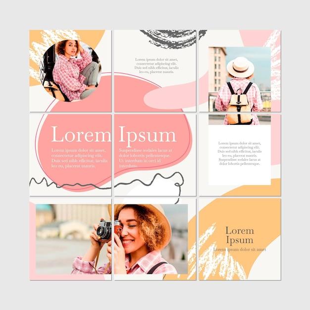 Collezione di puzzle di instagram donna carina Vettore Premium