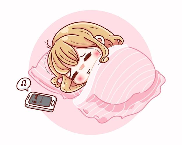 Una donna carina che dorme con una sveglia e un personaggio dei cartoni animati. Vettore Premium