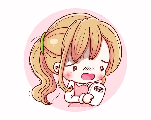 Donna carina in attesa di telefonata e design del personaggio dei cartoni animati. Vettore Premium