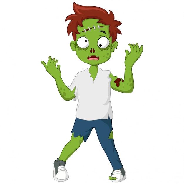 Carino zombie in piedi e camminando Vettore Premium