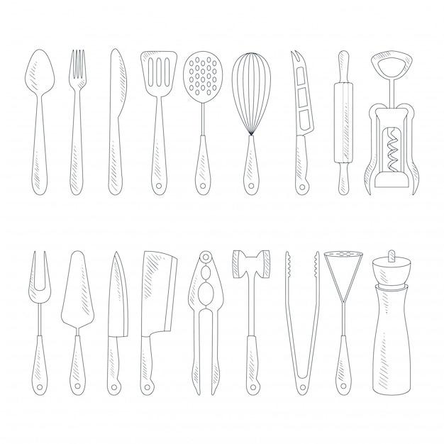 Icone di posate in stile disegnato a mano Vettore Premium