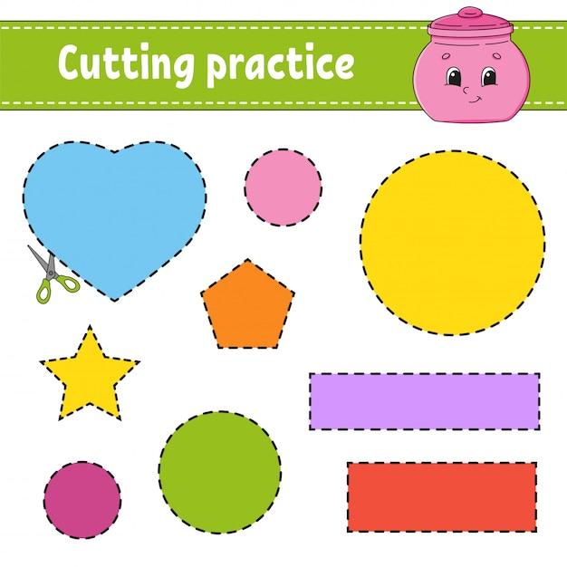 Pratica di taglio per bambini. foglio di lavoro per lo sviluppo dell'istruzione. pagina delle attività con immagini. Vettore Premium