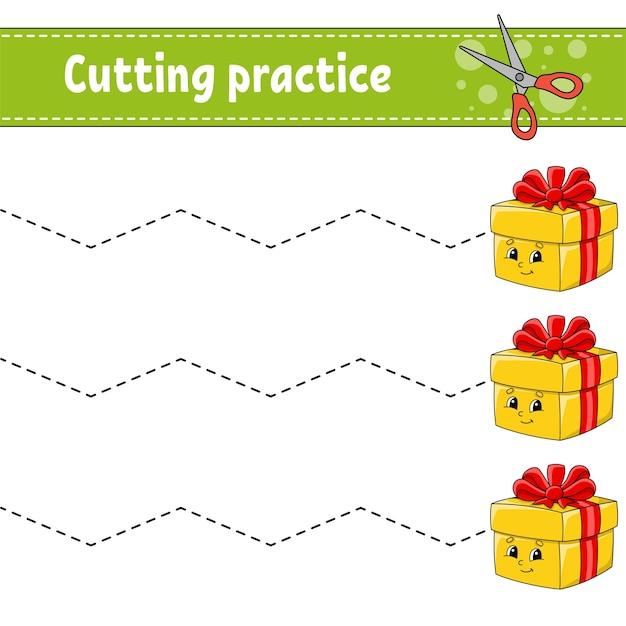 Pratica di taglio per bambini. foglio di lavoro per lo sviluppo dell'istruzione. pagina delle attività. Vettore Premium