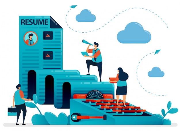 Cv da presentare per l'illustrazione del concetto di lavoro Vettore Premium