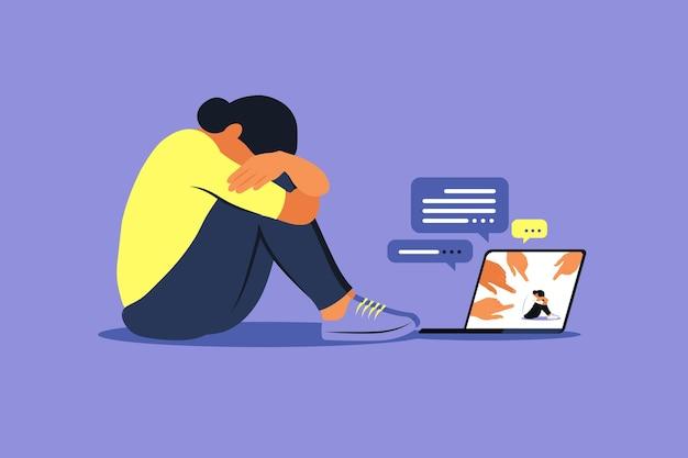 Cyber bullismo concetto. donna depressa che si siede sul pavimento. opinione e pressione della società. vergogna. vector piatto Vettore Premium