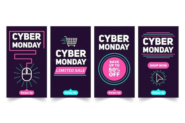 Raccolta di storie di instagram di cyber lunedì Vettore Premium