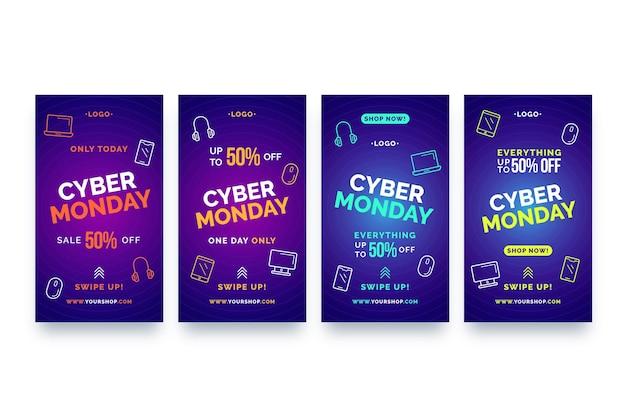 Storie di instagram di cyber lunedì impostate Vettore Premium