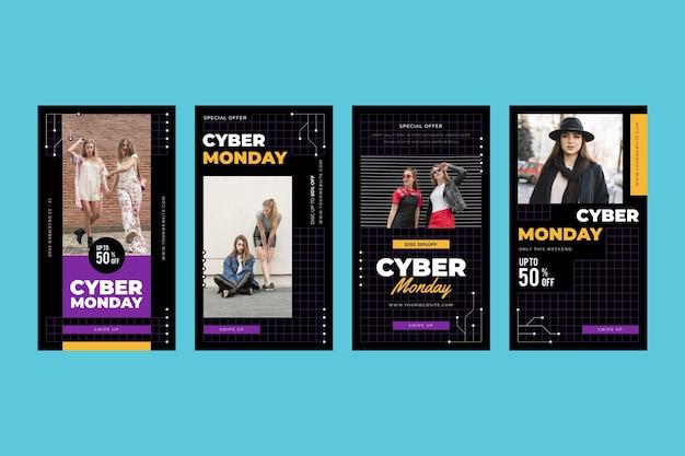 Storie di instagram di cyber lunedì Vettore Premium
