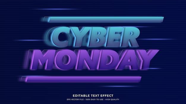 Effetto di testo modificabile premium di tipografia al neon di cyber lunedì Vettore Premium