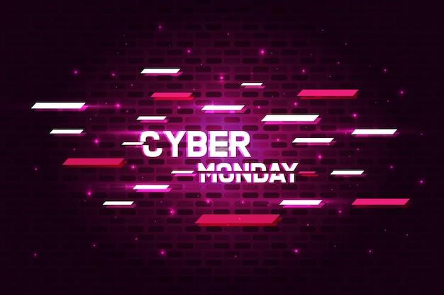 Insegna del manifesto di cyber monday con il concetto d'ardore e di glitch. Vettore Premium