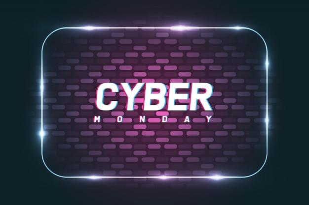 Banner di poster di cyber monday con sfondo muro. Vettore Premium