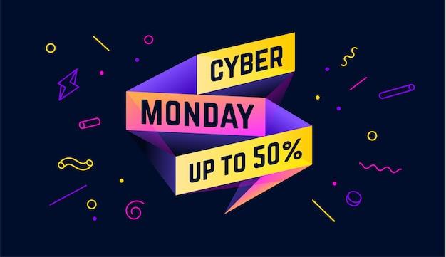 Cyber monday. banner di vendita con testo cyber monday per emozione, motivazione. Vettore Premium