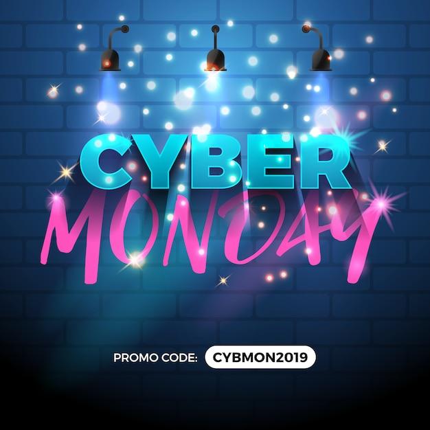 Cyber monday vendita promozione banner design. Vettore Premium