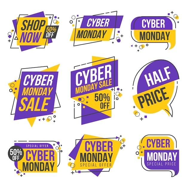 Collezione cyber monday shopping day origami banner label design collection Vettore Premium