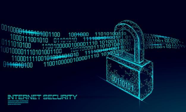 Lucchetto di sicurezza informatica sulla massa di dati. illustrazione futura poligonale bassa del blu di concetto di affari della rete di tecnologia dell'innovazione della segretezza di informazioni della serratura di sicurezza di internet poli Vettore Premium