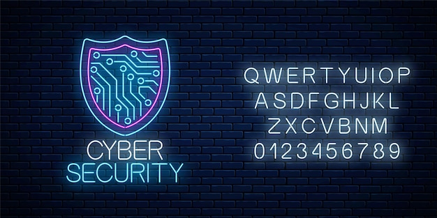 Insegna al neon incandescente di sicurezza informatica con alfabeto sul muro di mattoni scuri Vettore Premium