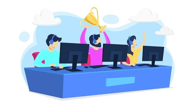 Giocatore o giocatore di cybersport che si siede al pc del computer Vettore Premium