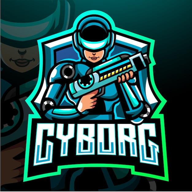 Mascotte cyborg. logo esport Vettore Premium