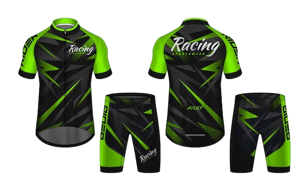 Scenografia della maglia da ciclismo Vettore Premium
