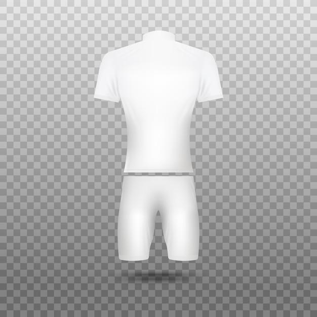 Illustrazione realistica di maglie in bianco bianche in bicicletta su sfondo trasparente. uniforme per il modello di abbigliamento della squadra sportiva dei ciclisti. Vettore Premium