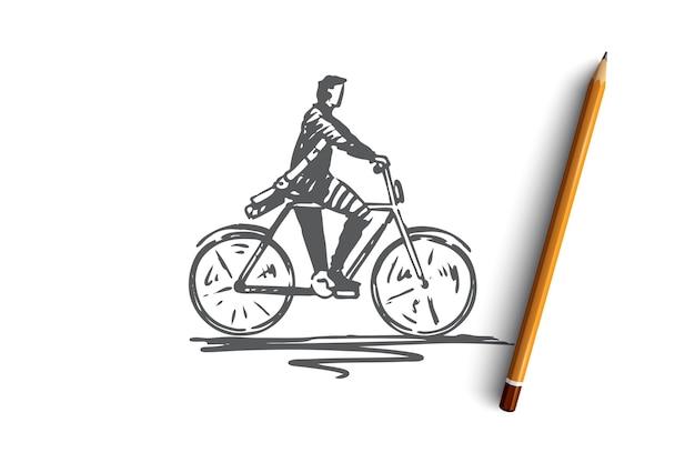 Ciclista, bici, bicicletta, persona, concetto di azione. schizzo di concetto all'aperto di ciclismo persona disegnata a mano. illustrazione. Vettore Premium