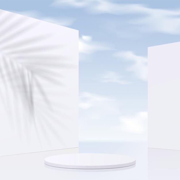 Podio cilindro bianco con sfondo cielo e foglie d'ombra. presentazione del prodotto, scena per mostrare il prodotto cosmetico, podio, piedistallo o piattaforma. semplice pulito, Vettore Premium