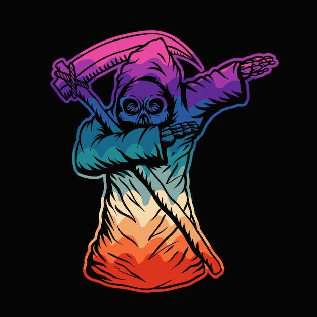 Dabbing morte cranio illustrazione colorata Vettore Premium